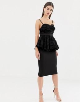ASOS DESIGN Tall Premium Pephem Midi Bodycon Black Dress