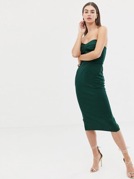 abaca0159cba ASOS DESIGN Tall Seamed Bandeau Midi Bodycon Green Dress - We Select ...