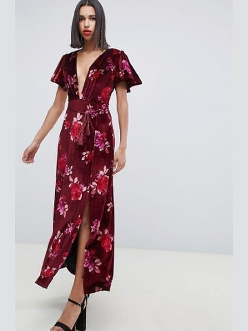 5ae8a85e7ff ASOS DESIGN Velvet Floral Maxi Red Dress With Tassel Belt - We ...