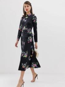 ASOS-DESIGN-Velvet-Ruched-Midi-Dress-In-Floral-Multi-Print