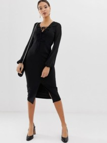 ASOS-DESIGN-Woven-Mix-Pencil-With-Lace-Up-Front-Black-Dress