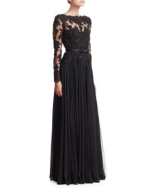 BADGLEY MISCHKA Lace Bodice Georgette A-Line Black Gown
