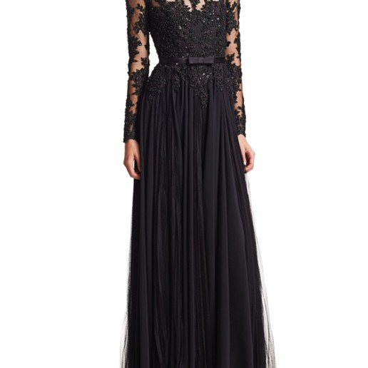 Badgley Mischka Lace Bodice Georgette A Line Black Gown