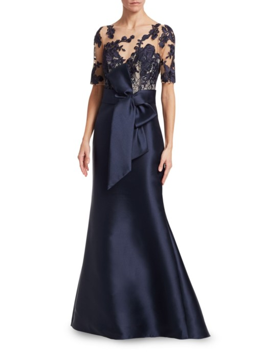 BADGLEY MISCHKA Lace Sleeve Navy Gown