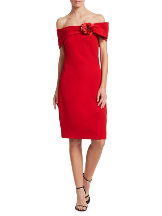 BADGLEY MISCHKA Off-The-Shoulder Embellished Brooch Deep Red Dress