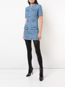BALMAIN Denim Mini Blue Dress