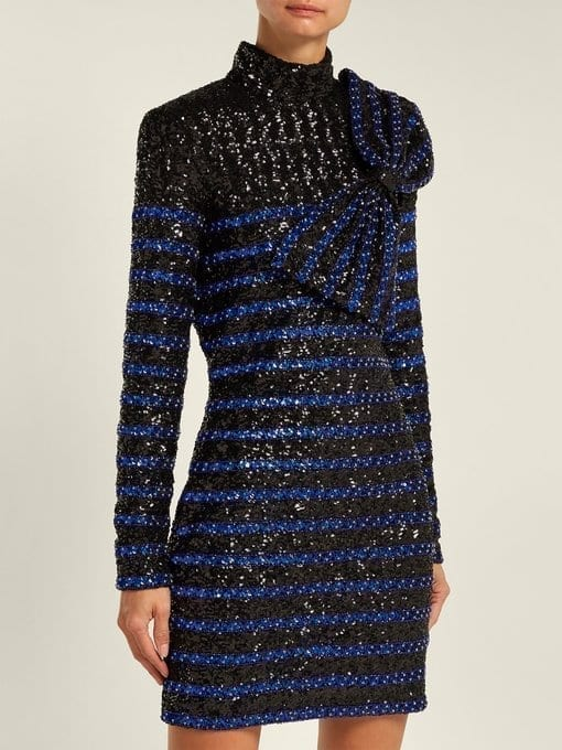 Balmain Sequined Striped Mini Black Dress We Select Dresses