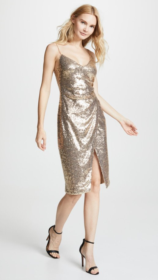 BLACK HALO Bowery Sequin Sheath Metallic Dress