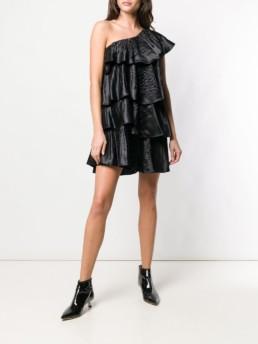 BLUGIRL Asymmetric Flared Mini Black Dress