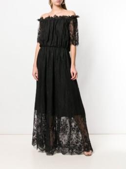 BLUGIRL Off Shoulder Lace Black Dress