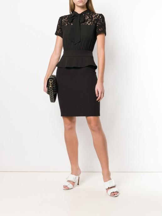 BLUGIRL Pussybow Peplum Black Dress