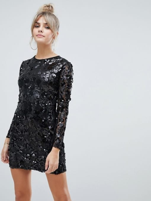 Boohoo Long Sleeve Sequin Bodycon Mini Black Dress With Lace Up Back