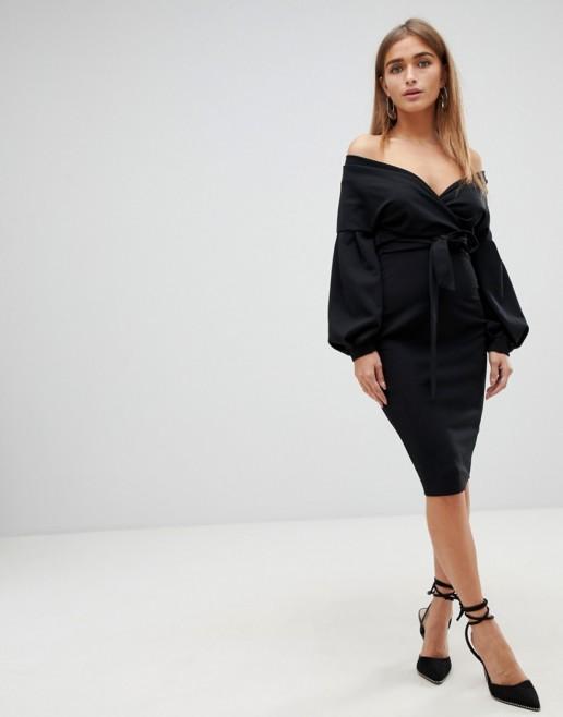 BOOHOO Petite Bardot Wrap Bodycon Midi Black Dress