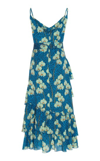 BORGO DE NOR Coco Ruffled Printed Crepe Midi Floral Dress 2