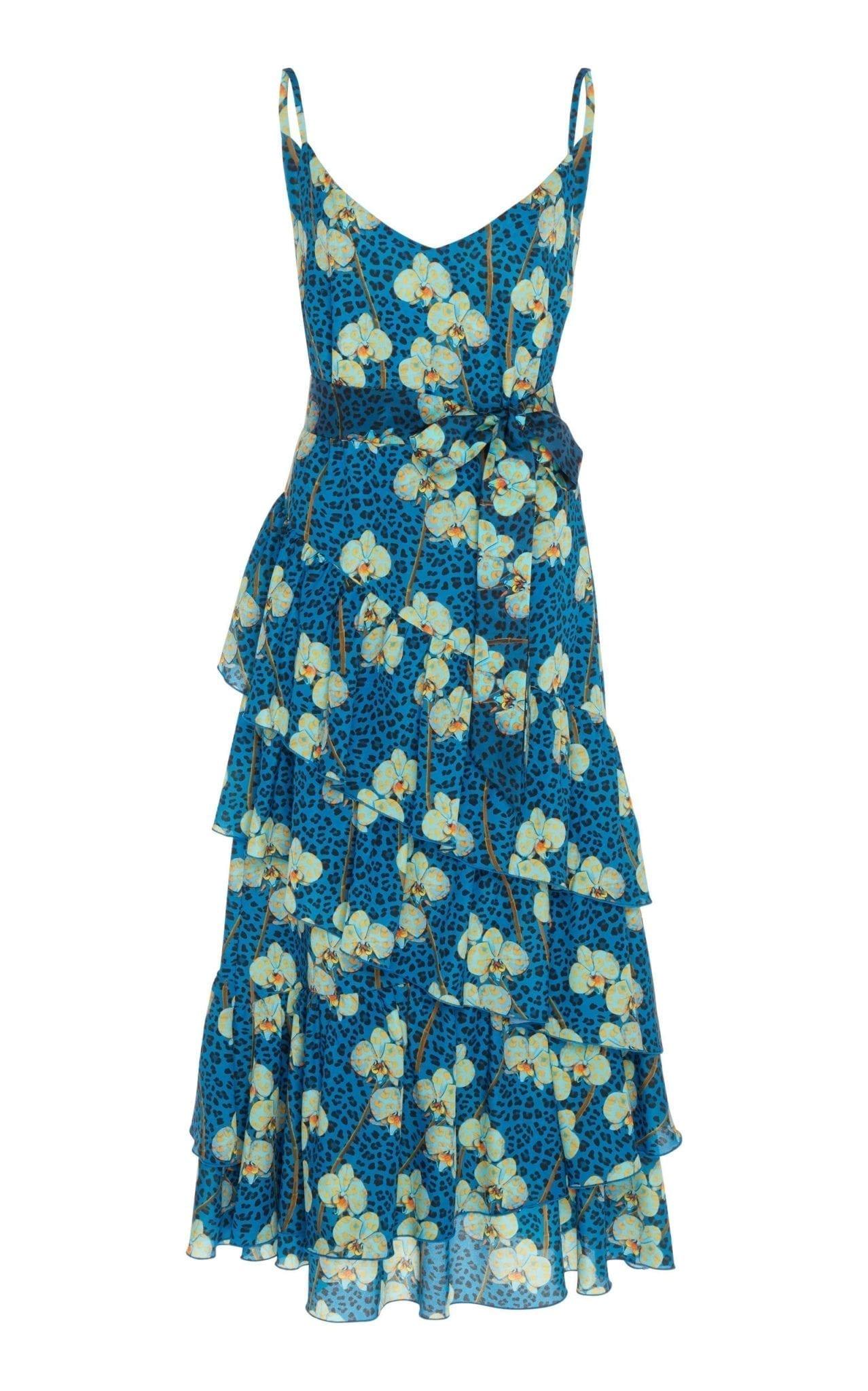 BORGO DE NOR Coco Ruffled Printed Crepe Midi Floral Dress