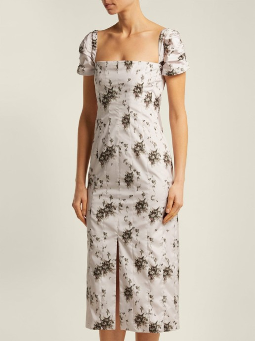 BROCK COLLECTION Odilia Panelled Midi Grey / Floral Printed Dress