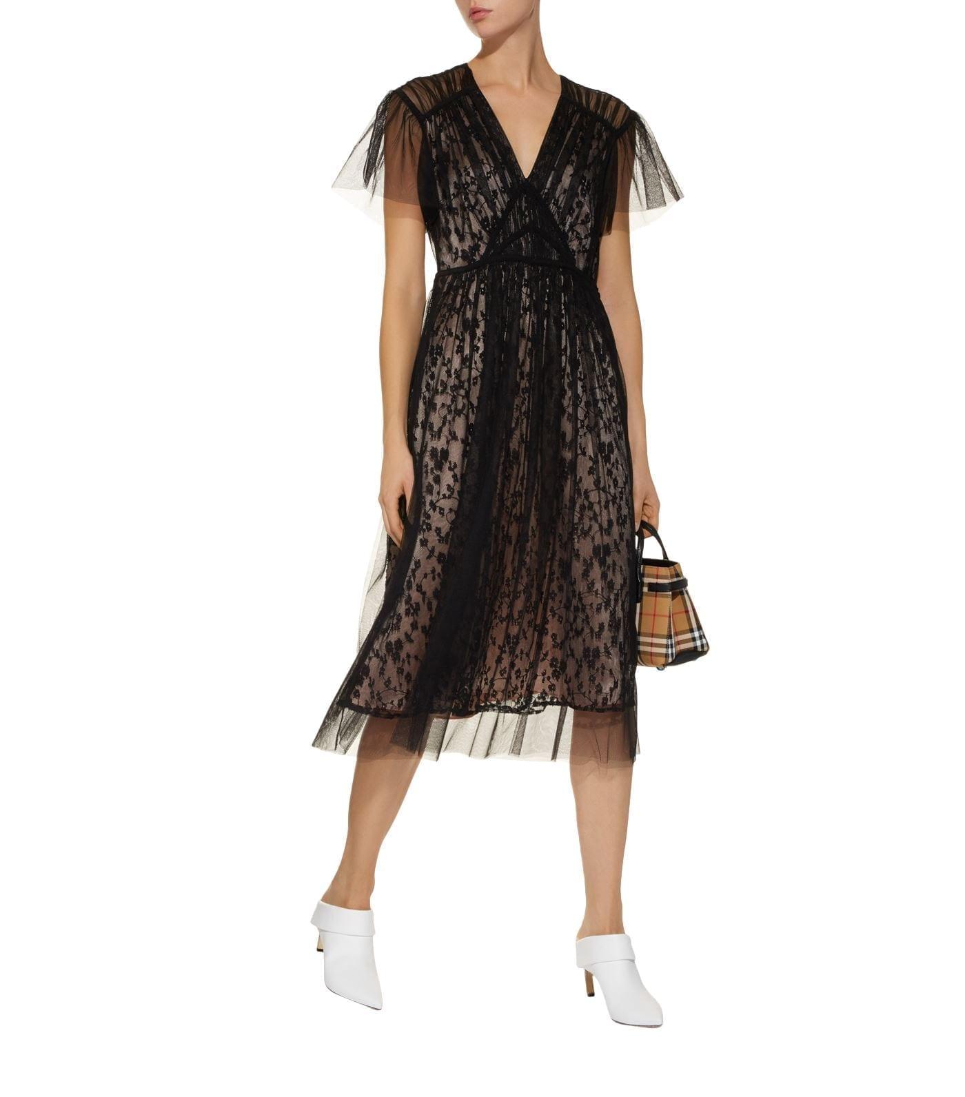 BURBERRY Lace Midi Black Dress