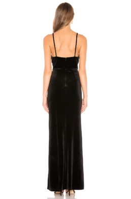 BY THE WAY. Aurora Deep V Maxi Black Dress 3