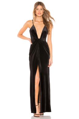 BY THE WAY. Aurora Deep V Maxi Black Dress