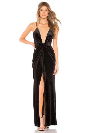 BY THE WAY. Aurora Deep V Maxi Black Dress