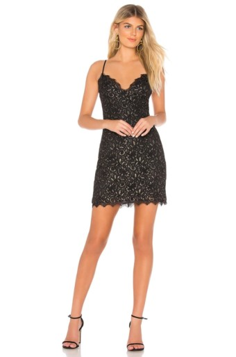 BY THE WAY. Remy Lace Mini Black / Gold Dress