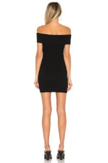 BY THE WAY. Tara Off Shoulder Knit Mini Black Dress 3