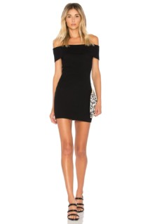BY THE WAY. Tara Off Shoulder Knit Mini Black Dress
