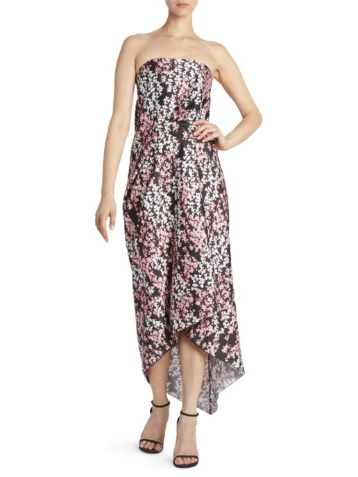 CÉDRIC CHARLIER Strapless Black / Floral Printed Dress