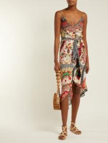 CAMILLA Silk Crepe Wrap Red / Floral-printed Dress