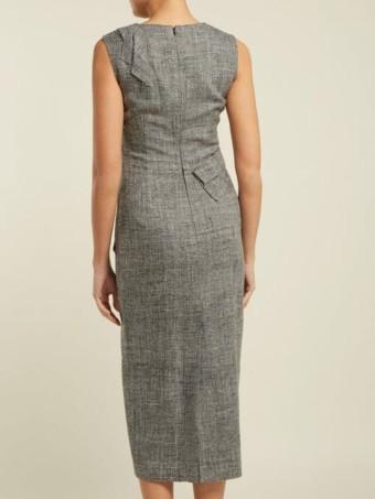 CARL KAPP Nectar Folded-panel Midi Grey Dress 4