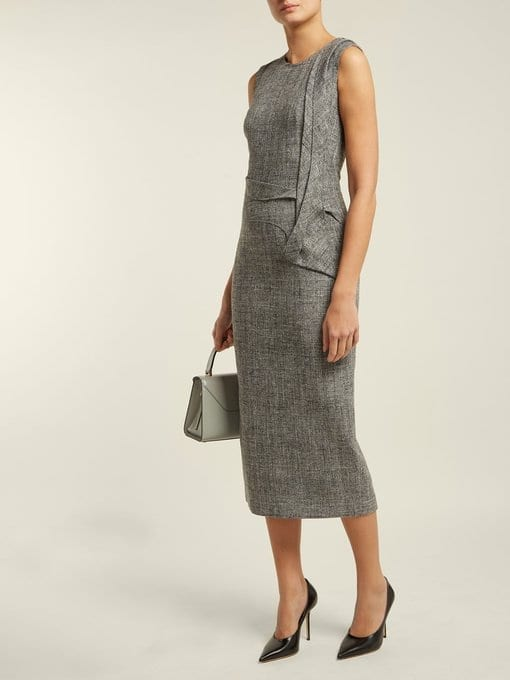 CARL KAPP Nectar Folded-panel Midi Grey Dress