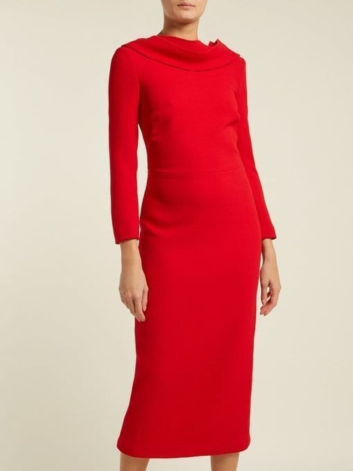 CARL KAPP Noah Cowl-neck Wool Red Dress 2