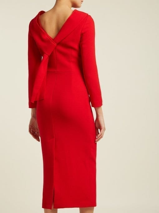 CARL KAPP Noah Cowl-neck Wool Red Dress 4