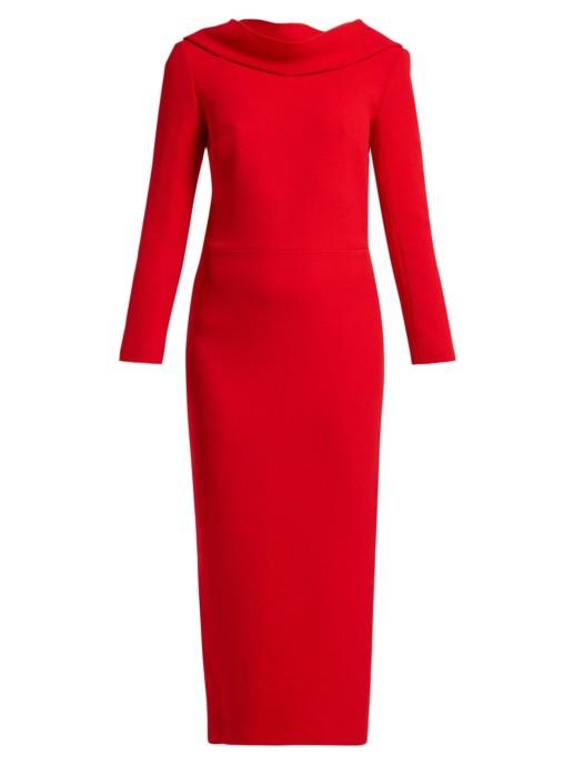 CARL KAPP Noah Cowl-neck Wool Red Dress 5