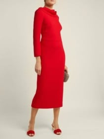 CARL KAPP Noah Cowl-neck Wool Red Dress