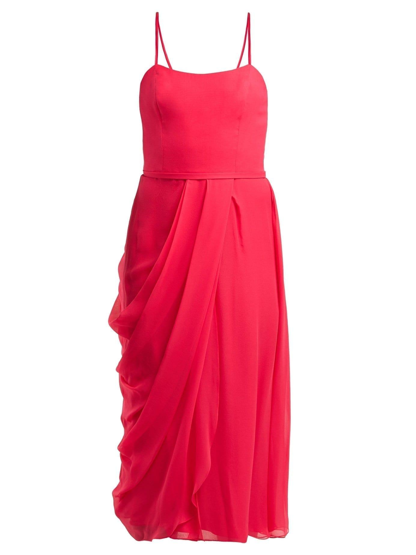 d26b41aee0e5a CAROLINA HERRERA Draped Silk-Chiffon Midi Pink Dress - We Select Dresses