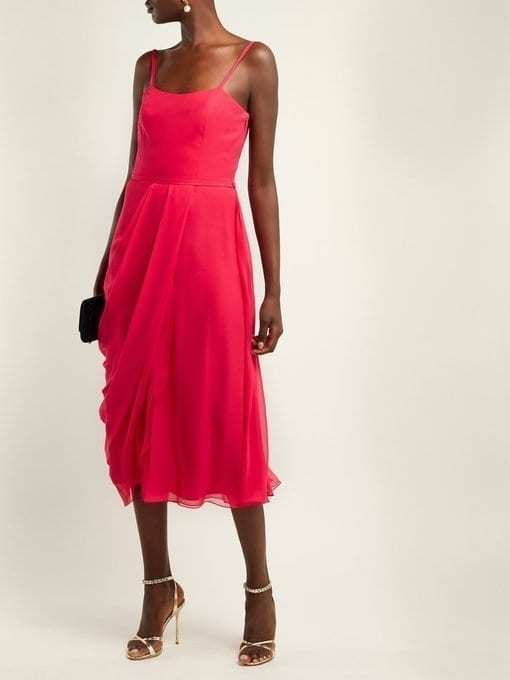 CAROLINA HERRERA Draped Silk-Chiffon Midi Pink Dress