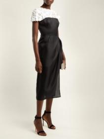 CAROLINA HERRERA Embroidered Silk Organza Midi Black Dress