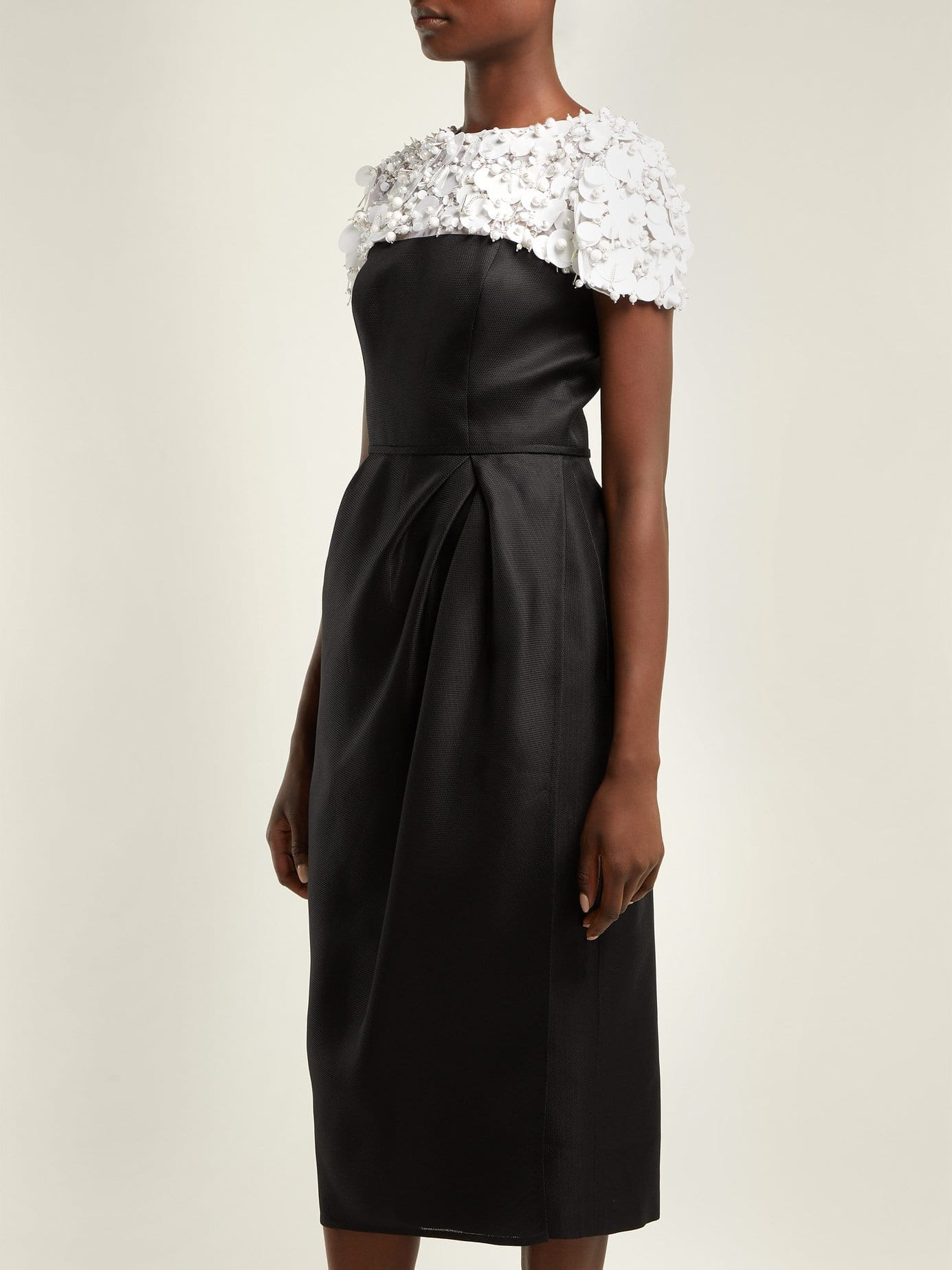 Carolina Herrera Embroidered Silk Organza Midi Black Dress