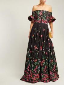 CAROLINA HERRERA Off-The-shoulder Floral-Print Faille Black Gown