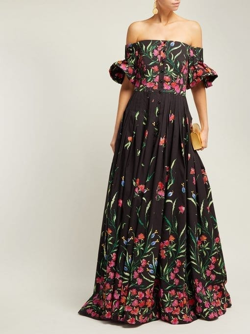 CAROLINA HERRERA Off-The-shoulder Floral-Print Faille Black Gown