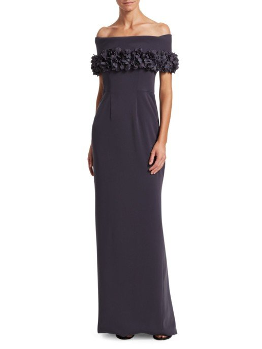 CATHERINE REGEHR Grace Off-The-Shoulder Floral Appliqué Trumpet Charcoal Gown