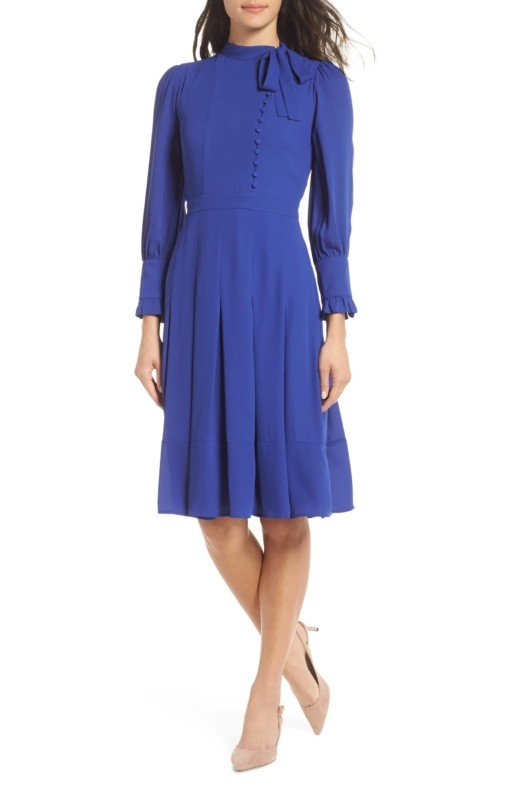 CHELSEA28 Button Tie Neck Blue Dress