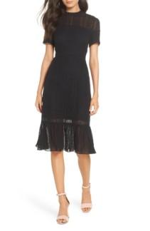 CHELSEA28 Lace & Swiss Dot Black Dress