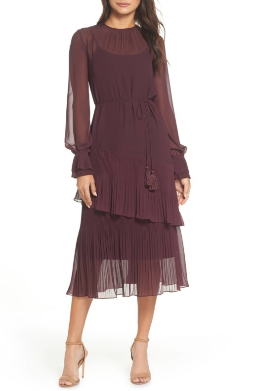 CHELSEA28 Pleat Detail Midi Burgundy Dress