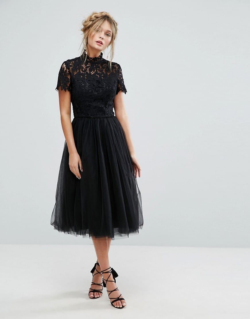 CHI CHI LONDON High Neck Tulle Skirt Lace Midi Black Dress