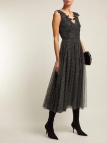 CHRISTOPHER KANE Metallic Tulle Midi Black Dress