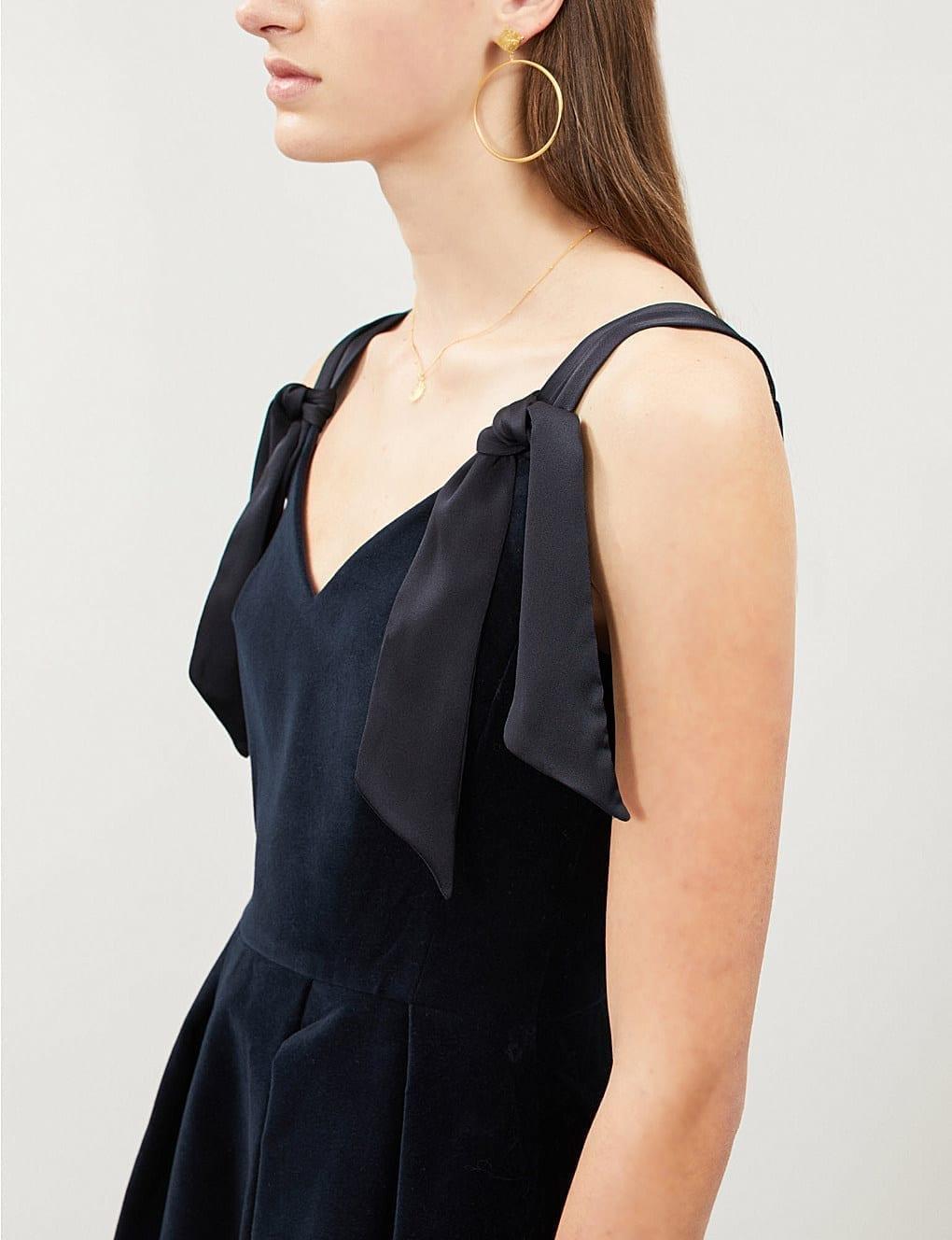 Select Velvet Tie Dress We Pierlot Rimy Claudie Navy Dresses qCnw7x0W
