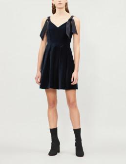 CLAUDIE PIERLOT Rimy Velvet Navy Dress