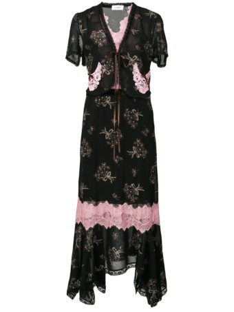 COACH Floral Bouquet Print Midi Black Dress 3